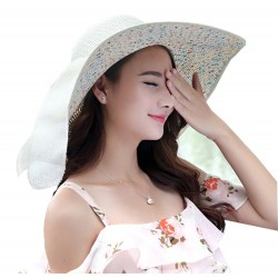 Women's Floppy Foldable Staw Hand Woven Bow UPF 50+ Hat-Hollow-Summer Sun Beach-Wide Brim Cap