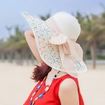 Women's Floppy Foldable Staw Hand Woven Bow UPF 50+ Hat-Hollow-Summer Sun Beach-Wide Brim Cap