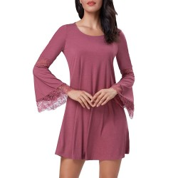 Kate Kasin Women's Casual Round Neck Loose A Line Tunic Dress Long Sleeves