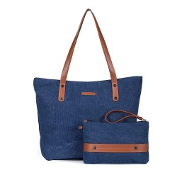 Women's Large Canvas Shoulder Tote Bag Casual Handbag Travel Bag with Small Conin Purse Wristlet