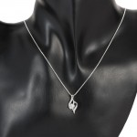 "Sterling Silver Plated Pendant Necklace  ""The Eye of Lover"", 18''+ 1"" Extender"