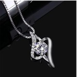"""Sterling Silver Plated Pendant Necklace  """"The Eye of Lover"""", 18''+ 1"""" Extender"""