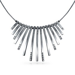 Bling Jewelry Crystal Vertical Bar Modern Statement Pendant Stainless Steel Necklace 18 Inches