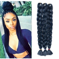 """Lady Miranda Pure Color Jumbo Braid Synthetic Hair Extensions 41"""" 165 g / Piece  (Blue 3)"""