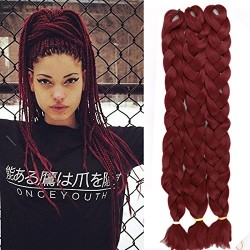 "Lady Miranda Pure Color Jumbo Braid Synthetic Hair Extensions 41"" 165 g / Piece (Burgundy3)"