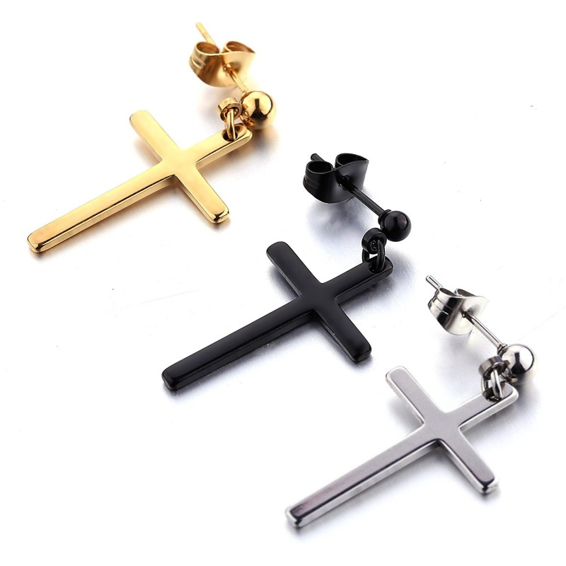3d5f6ce79f923 1-3 Pairs Stainless Steel Earrings Cross Dangle Studs Earrings ...