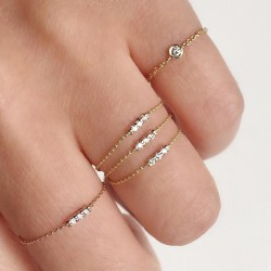 100% 925 sterling silver AAA+ cubic zirconia bezel cz charm cz bar delicate dainty thin chain simple girl ring
