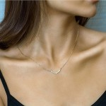 14K Gold Plated Dainty Womens Handmade Minimalism Balance U Shape Hammered Crescent Moon Pendant Tiny Sideways Anchor Neckalce Jewelry