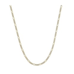 "14K Two-Tone Yellow and White Gold 1.5mm Solid Figaro Pave Chain Necklace- 16""-30"" Available…"