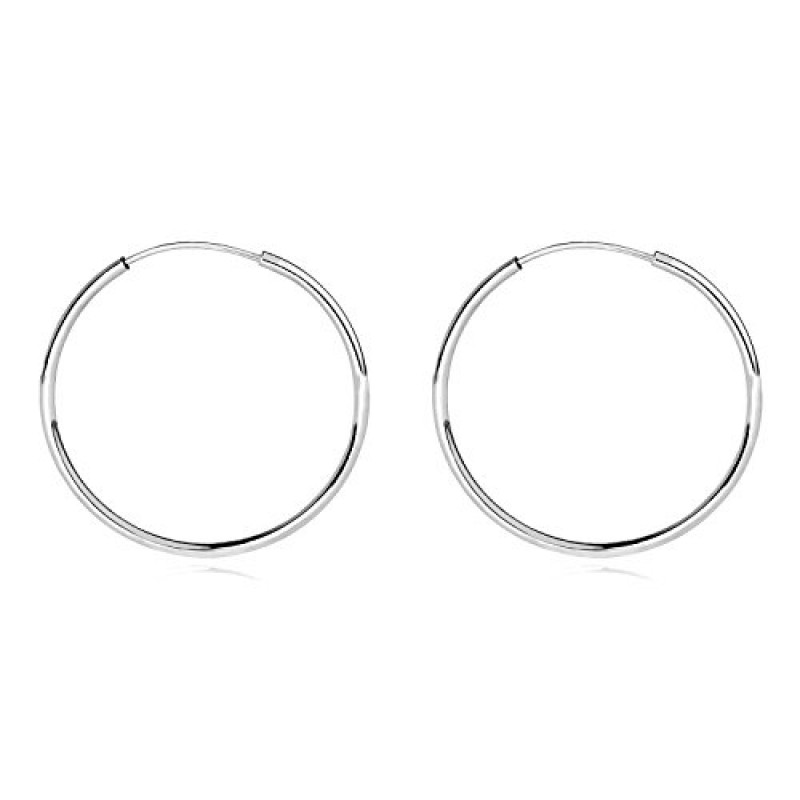 14k White Gold Endless Hoop Earrings 10 20mm