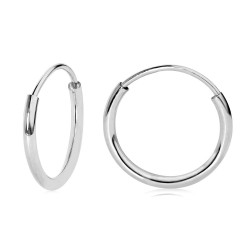 14k White Gold Endless Hoop Earrings 10-20mm