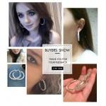 17KM Brand New Design Fashion Charm Austrian crystal hoop earrings Geometric Round  Shiny rhinestone big earring jewelry women