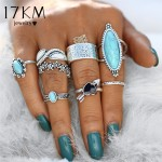 17KM Vintage Big Stone Midi Ring Set For Women Boho Antique Silver Color Heart Flower Knuckle Rings Boho Jewelry Anillos Gift