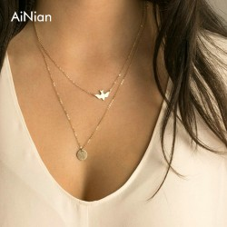 2018 Boho Choker Necklace Silver Fashion Chain Beads Metal Discs Jewelry Pendants Multi Layer Necklace Gold Necklaces For Women