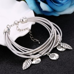 2018 Fashion Silver Charm Leaves Tibetant Silver Multilayer Bracelets For Women Pulseiras Pendant Handmade Bracelets & Bangles