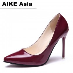 16061f154b4 2018 HOT Women Shoes Pointed Toe Pumps Patent Leather Dress High Heels Boat  Shoes Wedding Shoes
