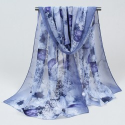 2018 New Women Chiffon Silk Scarfs Fashion Spring Square polyester Scarves Print flowers Shawl Summer Shawls And Hijabs 052