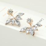2018 New Zircon Crystal Ear Cuff Clip Leaf Stud Earrings For Women Jacket Piercing Earrings Fine Jewelry Brincos