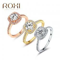 2018 ROXI Brand Anillos Fashion Jewelry Rings for Women White Rose Gold Color Zirconia Environmental Rhinestone Wedding Rings