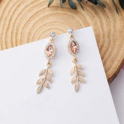 2018 Shiny Crystal Rhinestone Leaf Long Drop Dangle Earrings New Design Fashion Statement Jewelry For Women Gift Brincos 6A1023