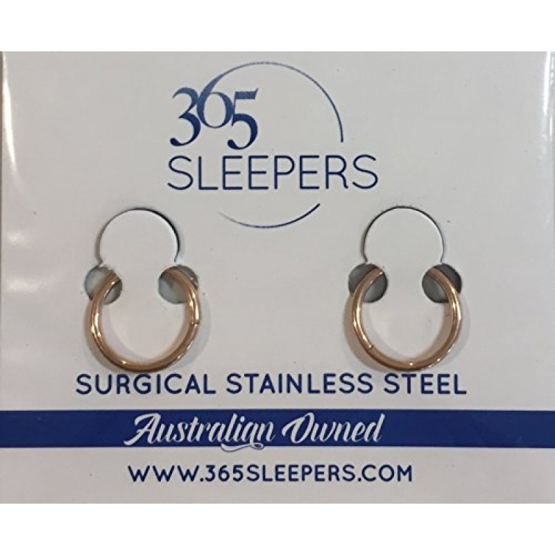 365 Sleepers 1 Pair Stainless Steel 8mm 18G Thin Hinged Hoop Segment Ring Sleeper Earrings Body Piercing