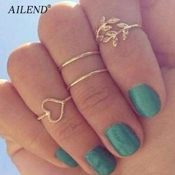 AILEND 2018 New 4pcs/Set Unique Ring Set Punk style Gold Color Knuckle Rings for women midi Finger Knuckle rings Ring Set