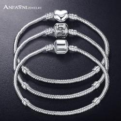 ANFASNI New Fashion Love Snake Chain Silver Color Fit Original Charm Bracelet Bangle Charm Bead For Women Gift 17CM-21CM
