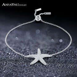 ANFASNI New Silver Color Starfish Bracelet & Bangle Adjustable Pulseras Mujer Charm Bracelet For Women Bridal Wedding Jewelry