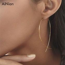 AiNian Fish Shaped Stud Earrings Simplicity Handmade Copper Wire Earring For Women Brincos De Gota Feminino 2018 Geometric New