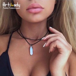 Artilady pu leather opal choker necklace fashion boho choker for women jewelry party gift