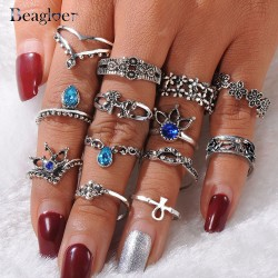 Beagloer Crystal Ring With 13Pcs/Set For Women Silver Color Flower Horse Bohemian Punk Female Ring Set Jewelry Anillos