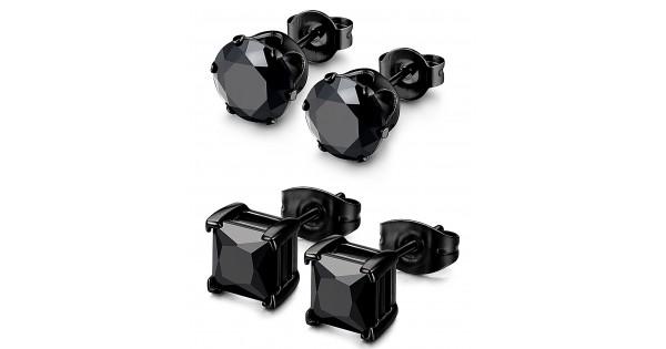 Besteel 2 Pairs Stainless Steel Mens Womens CZ Stud Earrings Pierced Black 20G 3