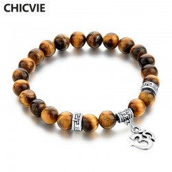 CHICVIE Tiger Eye Natural Stone Bracelets & Bangles For Women Men Silver color Charm Bracelet Casual Jewelry Love Gift Pulseras