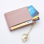 Cyanb Slim Leather Card Case Holder Front Pocket Wallet Change Purse for Women Girls keychain