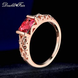 Double Fair Brand Red Crystal Wedding Rings Rose Gold Color / Silver Tone Fashion Retro Engagement Ring Jewelry For Women DFR368