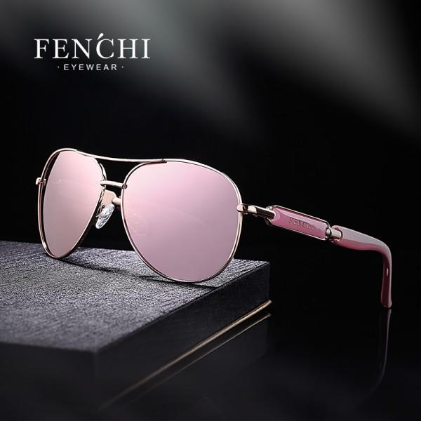 FENCHI 2018 sunglasses metal driving pilot mirror fashion design new aviator sunglasses women high quality Oculos De Sol pink