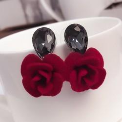 FYUAN Classic Water Drops Crystal Flower Stud Earrings Red Rose Earring For Women Jewelry Bijoux Gift