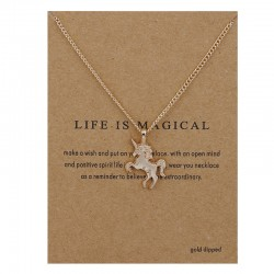 Fashion Jewelry Life Is Magical Unicorn Statement Necklace Women Girl Chocker Pendant