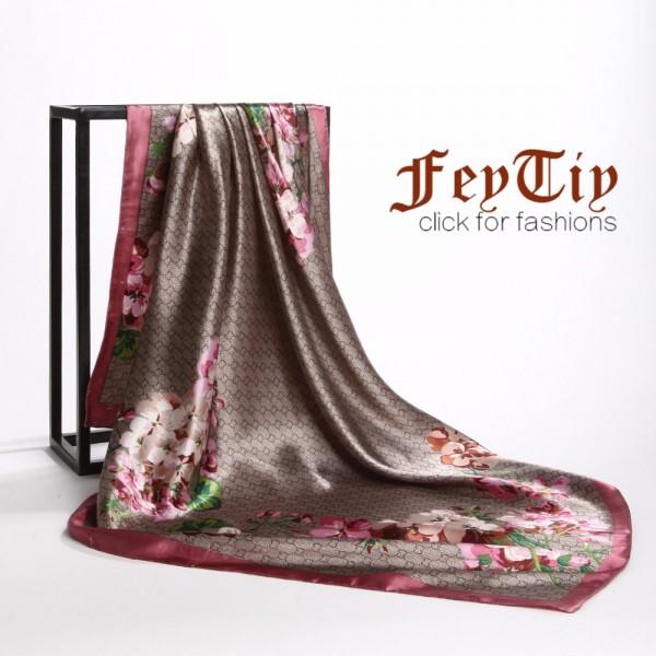 Fashion Square Head Scarf Women Vintage Flower Hijab Foulard Luxury Brand Scarves Female 90*90cm Shawl&Wraps 2018 New For Ladies