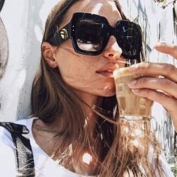 HBK New Sunglasses -Women Square Oversized Sunglasses Women Fashion Sun Glasses Lady Brand Designer Vintage Shades Gafas Oculos