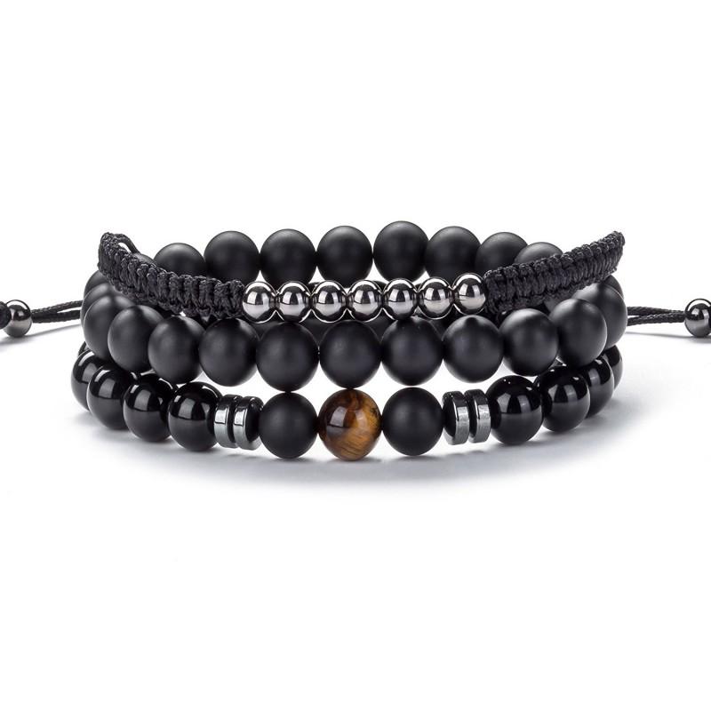 bc4a38de710 Hamoery Men Women 8mm Lava Rock Wrap Bead Bracelet Braided Rope Natural  Stone Stack Bracelet Bangle Set