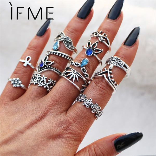 IF ME Bohemian Flower Ring Sets for Women Vintage Retro Silver Color Lotus Blue Crystal Rings Finger Jewelry 2018 New