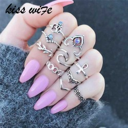 KISS WIFE 10 Pcs/Set Bohemian Ring Vintage Rings Leaves twisted Flower cross Ring For 2017 Fashion