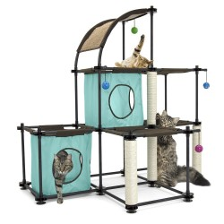 Kitty City Claw Mega Kit Cat Furniture, Cat Condo Duplex with Toy