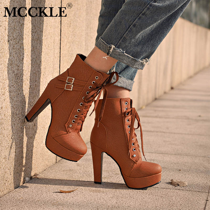MCCKLE Plus Size Ankle Boots For Women
