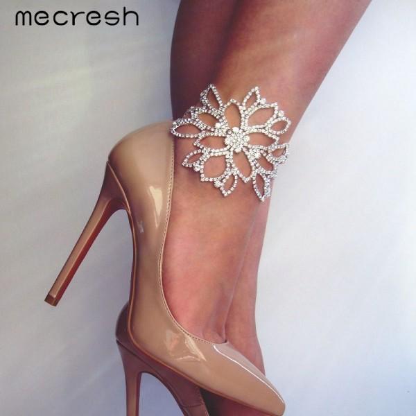 Mecresh Silver Color Crystal Bracelets for Women Floral Bridal Ankle Bracelets & Bangles Wedding Engagement Jewelry SL009