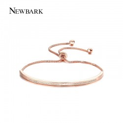 NEWBARK Top Quality Bracelet & Bangle for Women Captivate Bar Slider Brilliant CZ Rose Gold Color Jewelry Pulseira Feminina