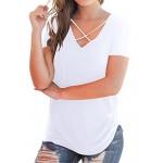 00c3ca25 NIASHOT Women's Casual Short Sleeve Solid Criss Cross Front V-Neck T-Shirt  Tops