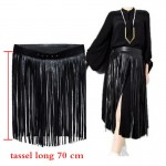 New Hippie Boho Fringe Tassel Black Faux Leather Ladies Belts sexy leisure skirt High Waist Fashion Women Long Belt Nightclub