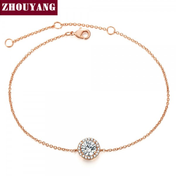 Round Micro Mosaic Cubic Zirconia Rose Gold Color Bracelet Jewelry Austrian Crystal Top Quality Wholesale ZYH165 ZYH101